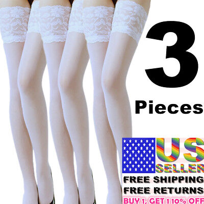Lace Top Stocking Socks Sexy Women Tights Nylon Up Sheer Pantyhose Hold Lingerie