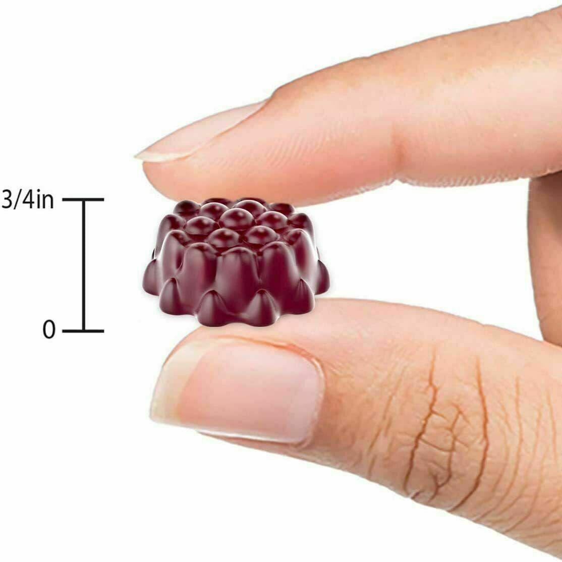 Black Elderberry Gummies Vitamin C Zinc 260mg Natural Berry Flavor Immune Boost  3