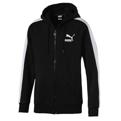 Puma Classics Logo T7 Mens Hoodie Full Zip Long Sleeved Cardigan Black 576342 01