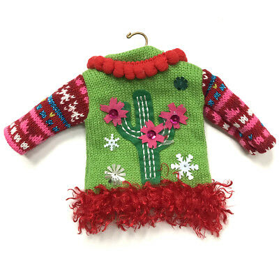 Ugly Sweater Christmas Ornament Cactus Red Miniature Doll Knit Shirt Top Hanger
