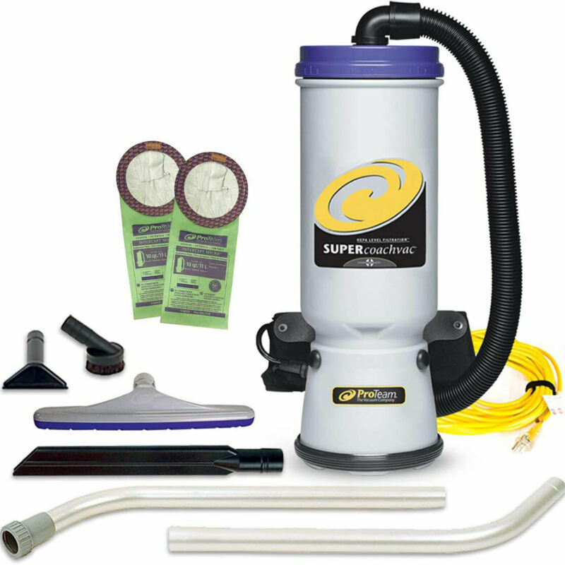ProTeam 107109 CoachVac 10 Quart Backpack Vacuum with 2 Piece Wand Tool Kit