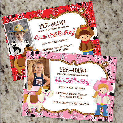 Cowgirl Party Invitations (YEE-HAW Cowboy / Cowgirl Birthday Party Invitations - FREE)