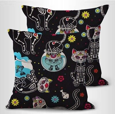 Dia De Los Muertos Items (US SELLER- set of 2 Mexico Dia de los Muertos cat sugar skull cushion cover)