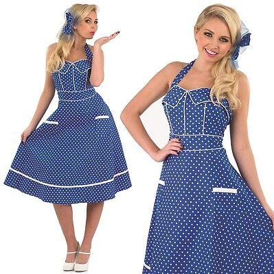 Damen Sexy 1950er Jahre Blau Rockabilly Kostüm Kleid Outfit UK 8-26 Übergröße