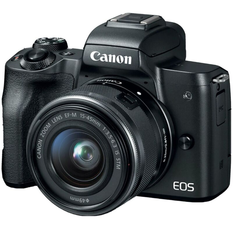 Used Canon EOS M50 + EF-M 15-45 IS STM Kit + Canon EF-EOS M Mount Adapter + More