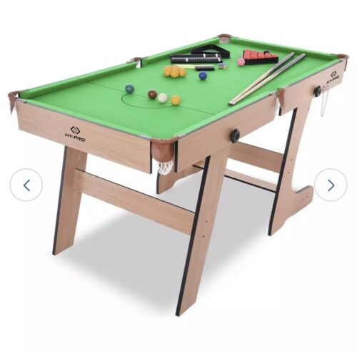 Hy-Pro 6ft Folding Snooker and Pool Table - Green.