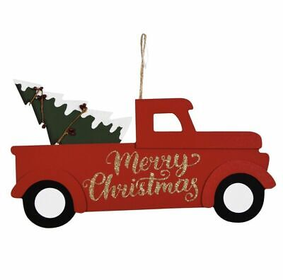 """RED TRUCK WITH A TREE hanging decor Christmas Holidays Wood Farm 13.75"""" *US*"""