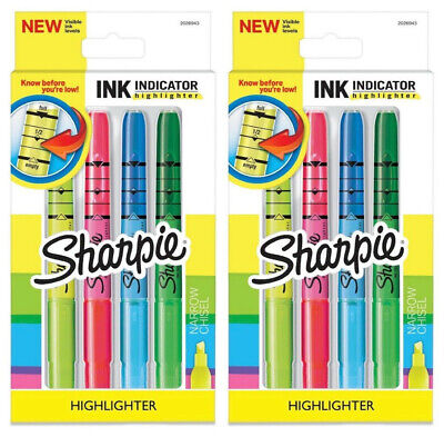 Lot 2 Sharpie Multi-color Ink Indicator Narrow Chisel Highlighter Stick Markers
