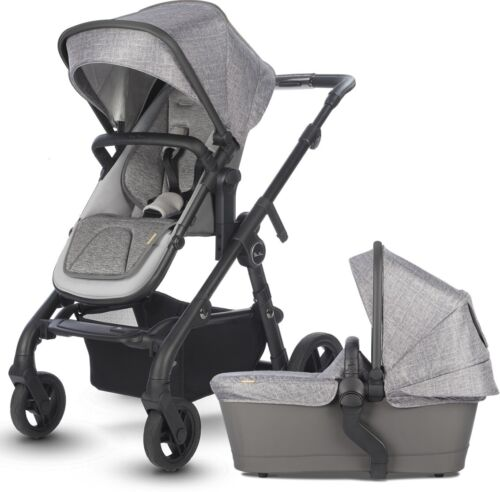 Silver Cross Coast Single to Double Pram System Stroller w/ Bassinet Limestone