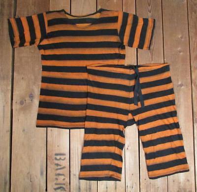 Vintage 1920s Jahre Wolle Badeanzug Orange/Blk Streifen Antik Hemd Shorts