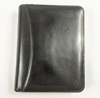 Franklin Covey Black Genuine Leather 7 Ring Binder Day Planner Organizer Zipper