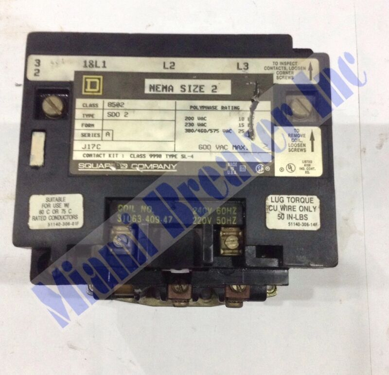 Square D 8502 Type SDO2 Contactor Series A Size 2 240V NEW COIL 3 Pole Unit