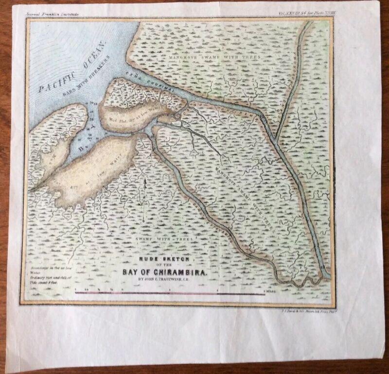"""1852 Bay of Chirambira Panama Trautwine Raspadura InterOceanic Canal 8 x 8"""" Map"""