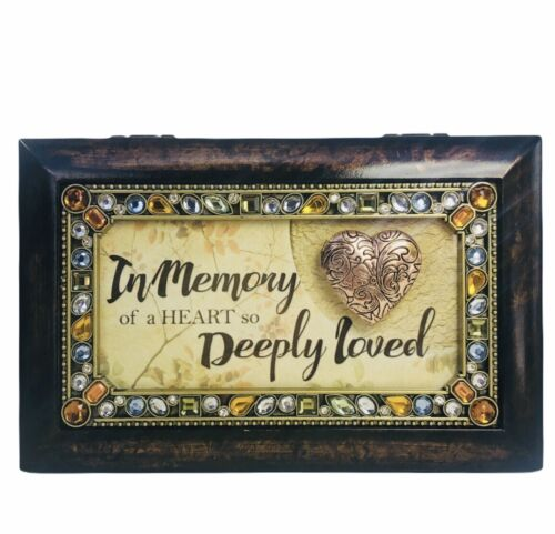 """Cottage Garden Musical Box """"In Memory Heart Deeply Loved"""" Bronze Wood Small New"""