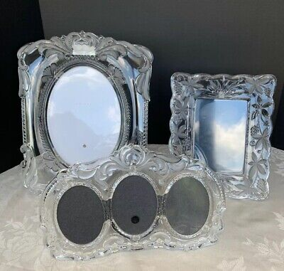 3 Vintage Mikasa Crystal Glass Frosted Oval Large Medium Picture Frame Wedding