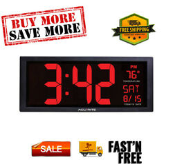 Digital Large Wall Clock Big Jumbo LED Display Indoor Temperature Calendar Date