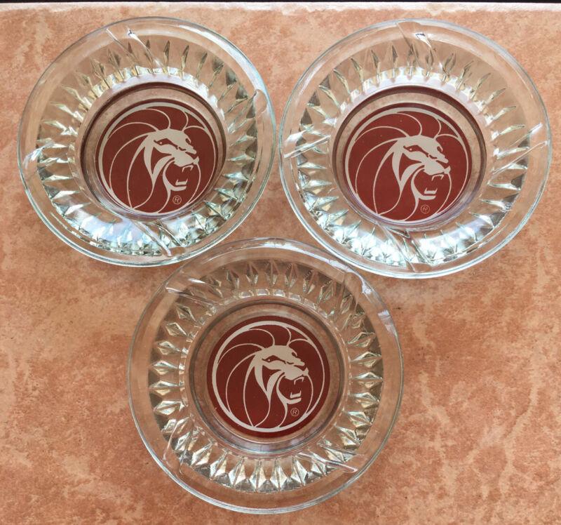 (3) Vintage Las Vegas MGM Grand Hotel Lion Head Logo Glass Cigarette Ashtray