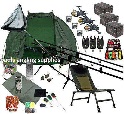 3 Rod Carp Fishing Set Up Kit AP Rods Reels Chair Alarms Bait Tackle Mat