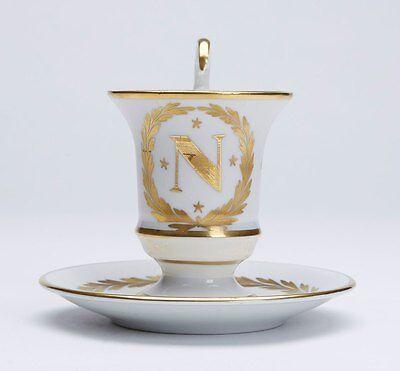ANTIQUE SEVRES NAPOLEON PORCELAIN CABINET CUP & SAUCER 19 C