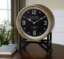 Mid Century Modern Style Shyam Table Desk Mantle Clock ~ Uttermost 06094