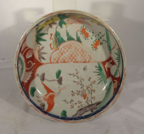 Antique Chinese Japanese Imari Decorated Enamel Blue and White Bowl