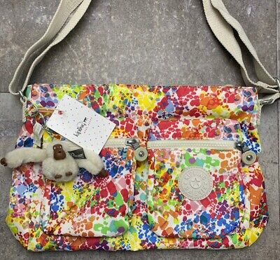 Kipling CORALIE Print Cross Body w Furry Monkey COLOR BURST BRIGHT  NWT