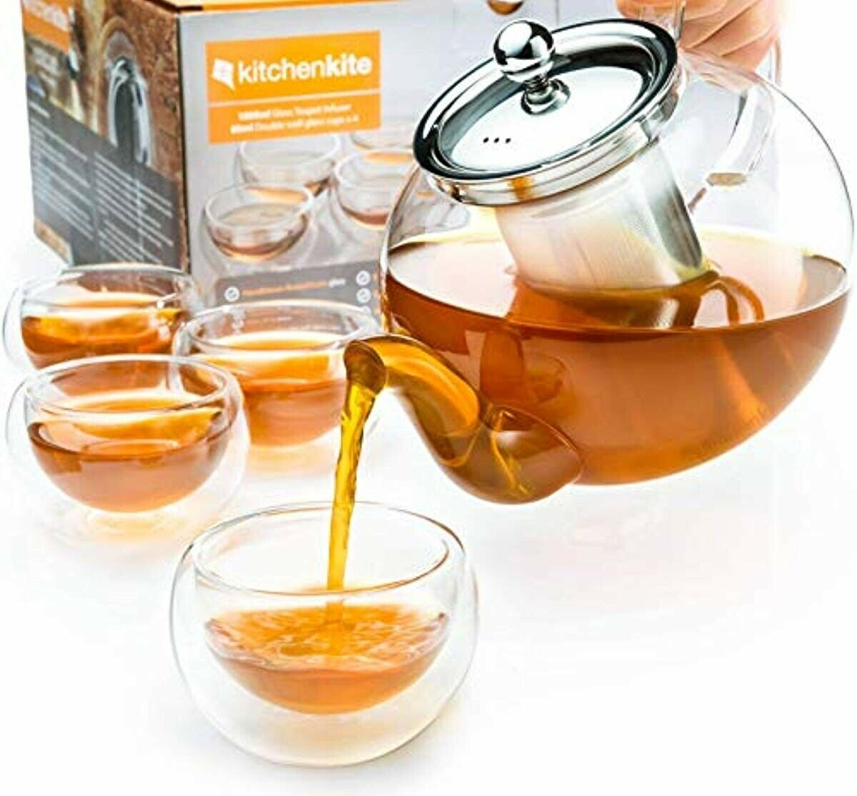 Tea Pot Sets For Adults Stovetop Safe Glass With Infuser 4 D