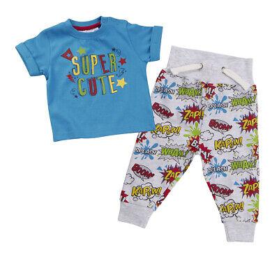 Infant Baby Boys Comic Book Superhero T-shirt & Jogpants 2 Piece Outfit 6-24m - Superhero Baby Clothes Uk