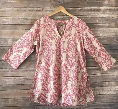 Women's RockFlowerPaper 100% Cotton Kurta tunic top Pale Pink Size M Medium ()