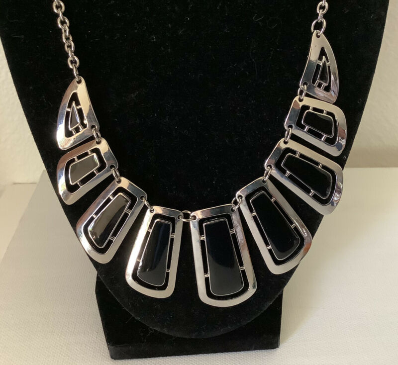 Vintage Mid Century Modern Silver Black Abstract Estate Jewelry Necklace!