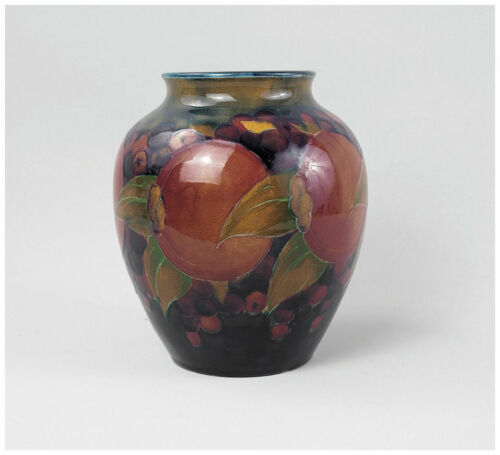 Antique Moorcroft Pottery Vase Pomegranate Berries Ovoid Shape Made in England