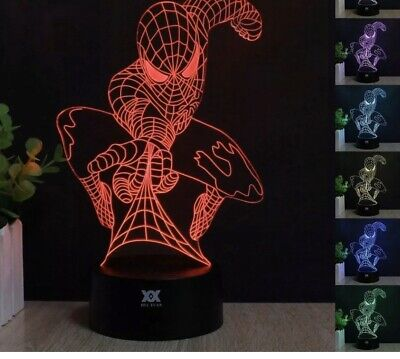 Spiderman 3D LED illusion Night Light 7 Colors Touch Switch Table Lamp Lighting