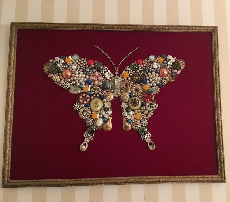 Folk Art Memory Jug Style Butterfly Picture