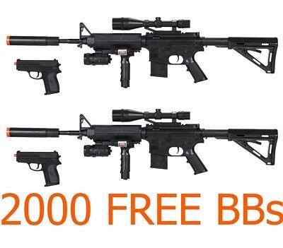 Toy Gun Lot 4 Airsoft Spring Guns Rifles FREE Pistols w/ Free BB LASER Grip  (Toy Guns)