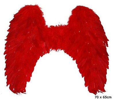 Rote Flügel 70x65 cm groß Federn und Marabu Teufelsflügel rot (Rote Teufel Flügel)