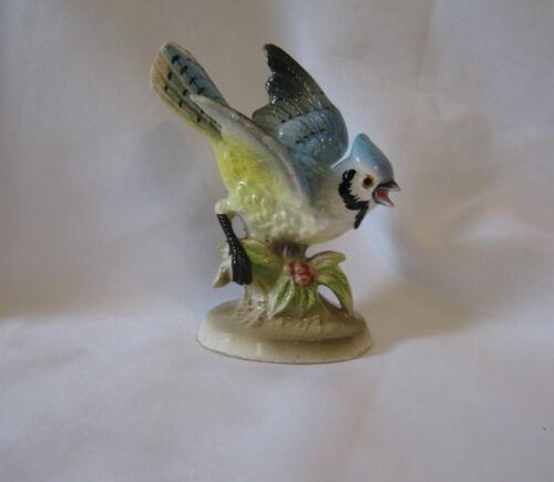 "Vintage Ceramic Blue Jay Blue Bird Landing 4.25"" Figurine Made In Japan"