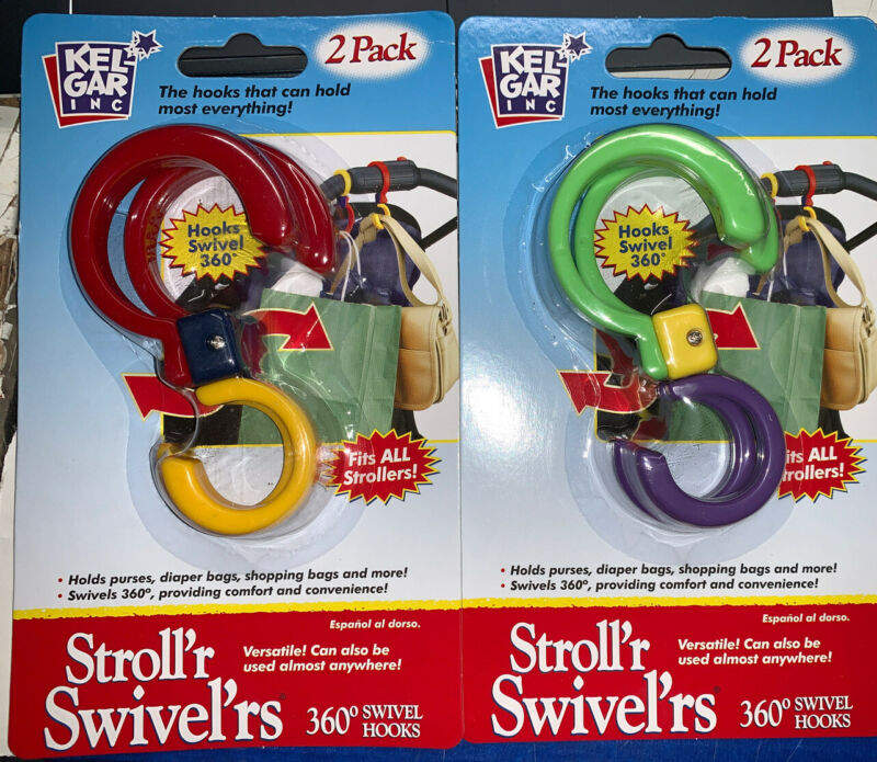 (4) Stroller 360 Degree Swivel Hook Carry Attachment Hold 10 Lbs.