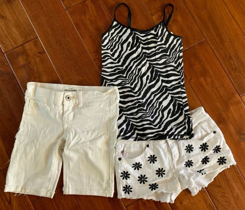 Abercrombie denim white shorts Vigoss  & Justice tank top❤️Girls size 8 Lot