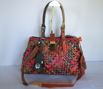 Tasche Handtasche echtes Leder geflochten bunt Ledertasche # 3 Italy-Design