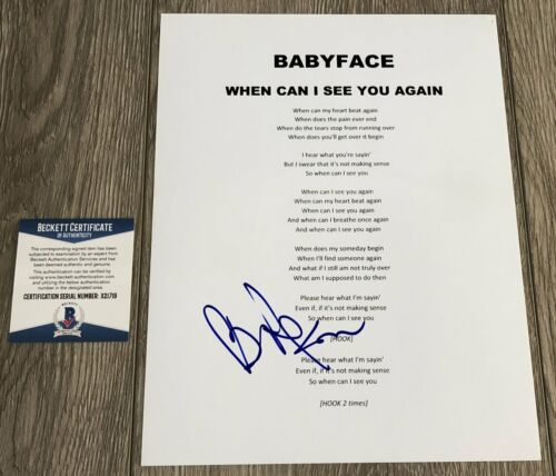BABYFACE SIGNED WHEN CAN I SEE YOU AGAIN LYRIC SHEET w/PROOF & BECKETT BAS COA
