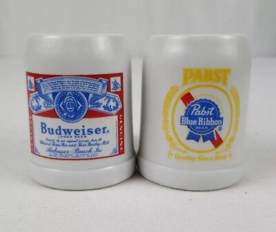 "Budweiser & Pabst Blue Ribbon Ceramarte Mini Steins Mugs 2.25"" Domestic Brewerys, used for sale  Beloit"