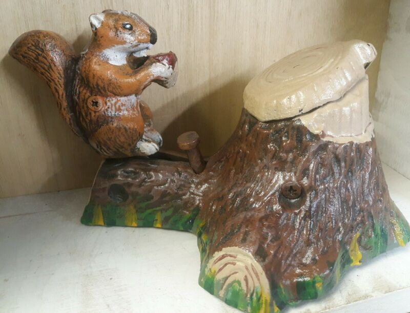 VINTAGE REPRODUCTION SQUIRREL CAST IRON MECHANICAL BANK