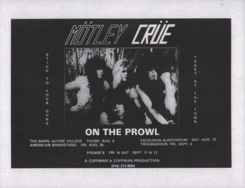 MOTLEY CRUE 1981 BOYS IN ACTION TOUR ORIGINAL CONCERT / SHOWS FLYER / HANDBILL