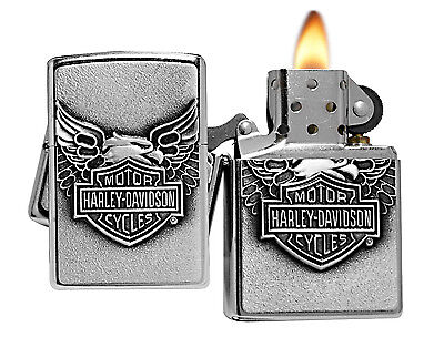 Zippo Lighter 20230 Street Chrome Harley Davidson Iron Eagle Emblem Classic NEW