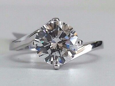 14K White Gold Fancy Design Solitaire Cubic Zirconia Engagement Ring, 8mm/2ct -