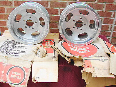 1969 ROCKET TRAC MASTER ALUMINUM SLOT WHEELS 14X7 5 LUG 4 3/4 BC GM STREET ROD