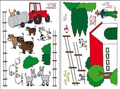 FARM Scene Wall Decals Red Barn Animals Farmer Room Decor Stickers Tractor Sheep Farm Room Decor