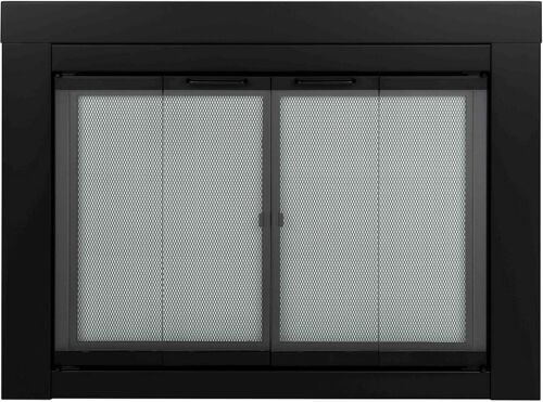 Pleasant Hearth At-1000 Ascot Fireplace Glass Door, Black, Small