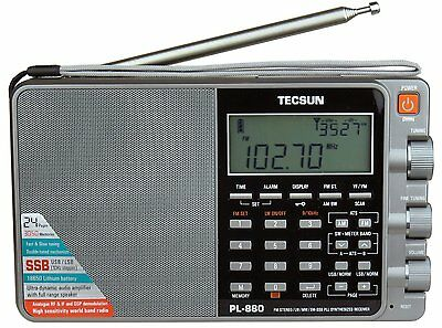 Tecsun PL880 PLL Dual Conversion AM FM Shortwave Portable Radio with SSB Silver