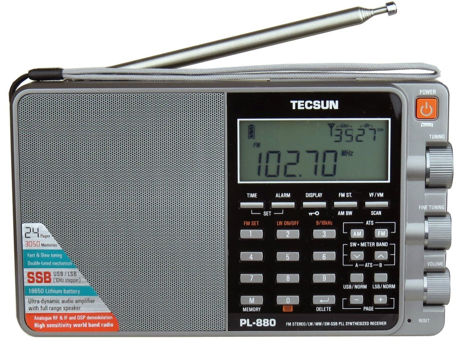 Tecsun PL880 PLL Dual Conversion AM FM Shortwave Portable Ra
